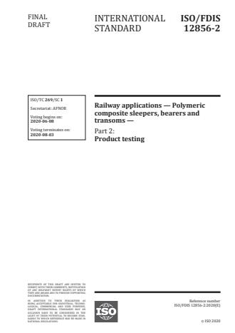 ISO/FDIS 12856-2:Version 01-jun-2020 - Railway applications -- Polymeric composite sleepers, bearers and transoms