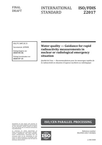 ISO/FDIS 22017 - Water quality -- Guidance for rapid radioactivity measurements in nuclear or radiological emergency situation