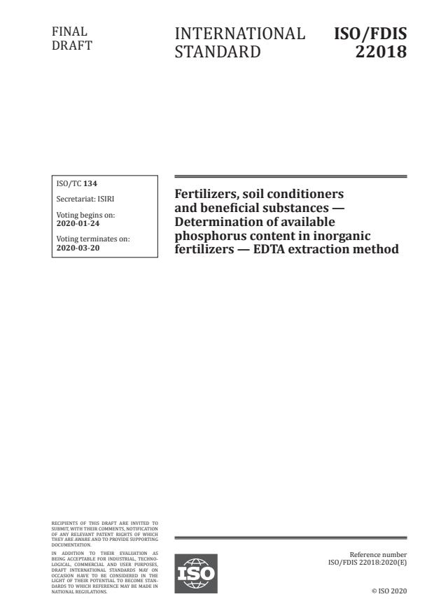 ISO/FDIS 22018:Version 24-apr-2020 - Fertilizers, soil conditioners and beneficial substances -- Determination of available phosphorus content in inorganic fertilizers -- EDTA extraction method