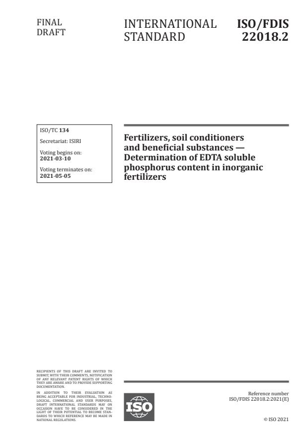 ISO/FDIS 22018.2:Version 06-mar-2021 - Fertilizers, soil conditioners and beneficial substances -- Determination of EDTA soluble phosphorus content in inorganic fertilizers