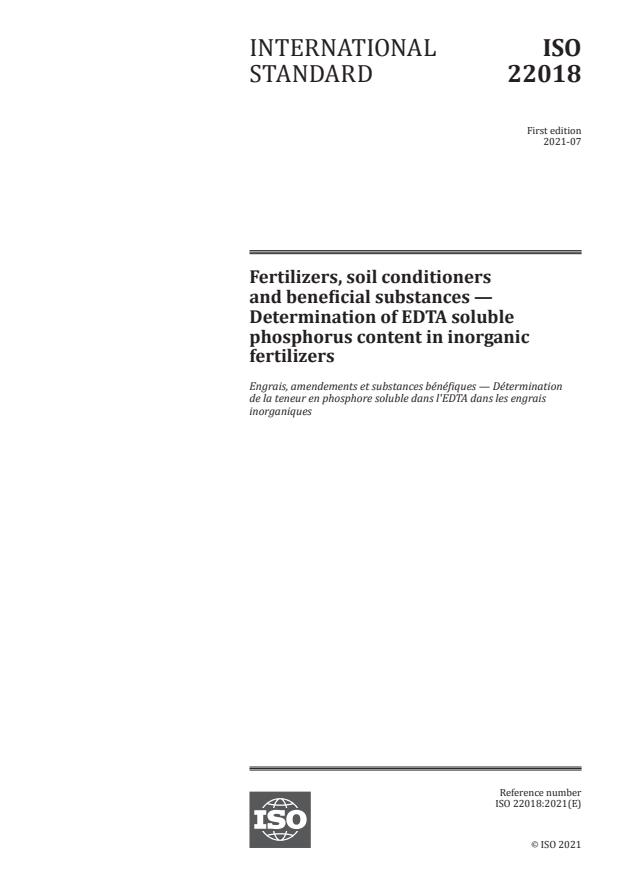 ISO 22018:2021 - Fertilizers, soil conditioners and beneficial substances -- Determination of EDTA soluble phosphorus content in inorganic fertilizers