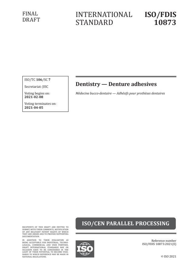 ISO/FDIS 10873:Version 05-feb-2021 - Dentistry -- Denture adhesives