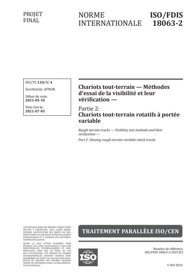 ISO/FDIS 18063-2:Version 08-maj-2021 - Chariots tout-terrain -- Méthodes d'essai de la visibilité et leur vérification