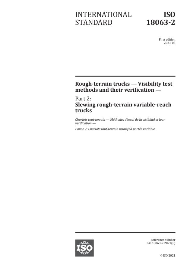 ISO 18063-2:2021 - Rough-terrain trucks -- Visibility test methods and their verification
