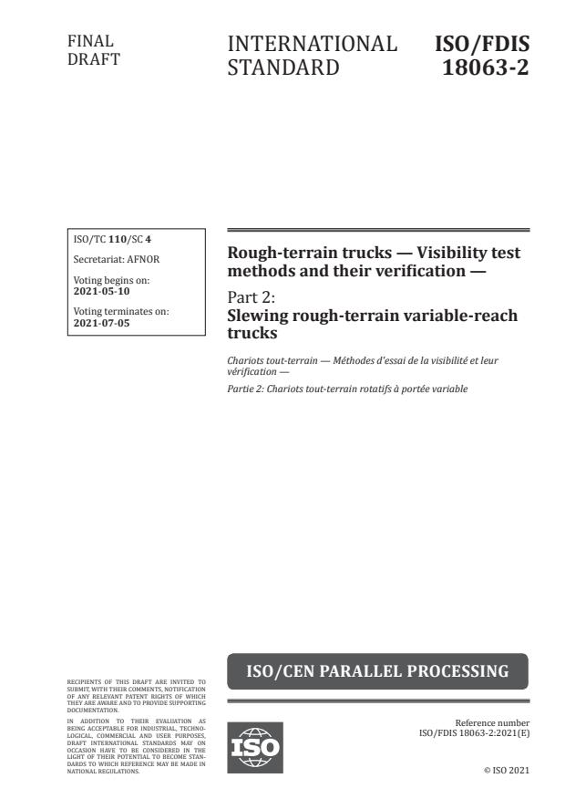 ISO/FDIS 18063-2:Version 08-maj-2021 - Rough-terrain trucks -- Visibility test methods and their verification