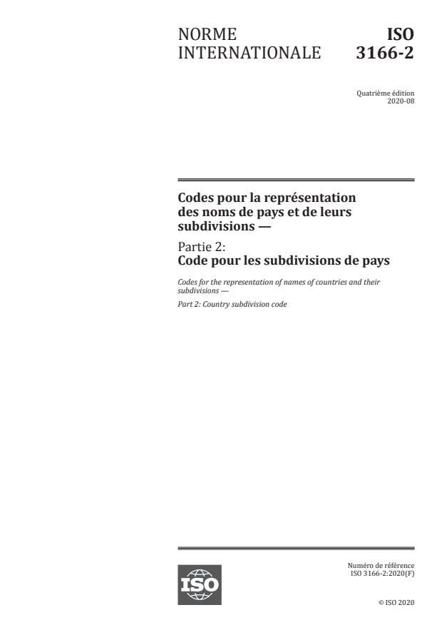 ISO 3166-2:2020 - Codes pour la représentation des noms de pays et de leurs subdivisions