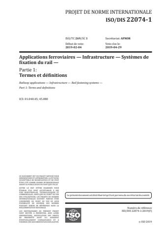 ISO 22074-1:2020 - Infrastructure ferroviaire -- Systemes de fixation du rail