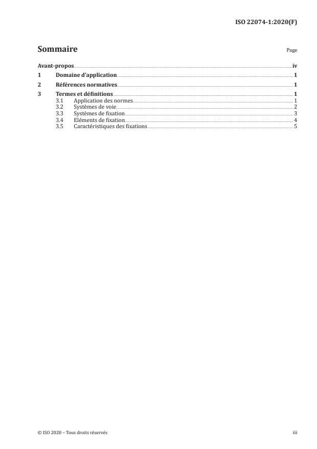 ISO 22074-1:2020 - Infrastructure ferroviaire -- Systèmes de fixation du rail