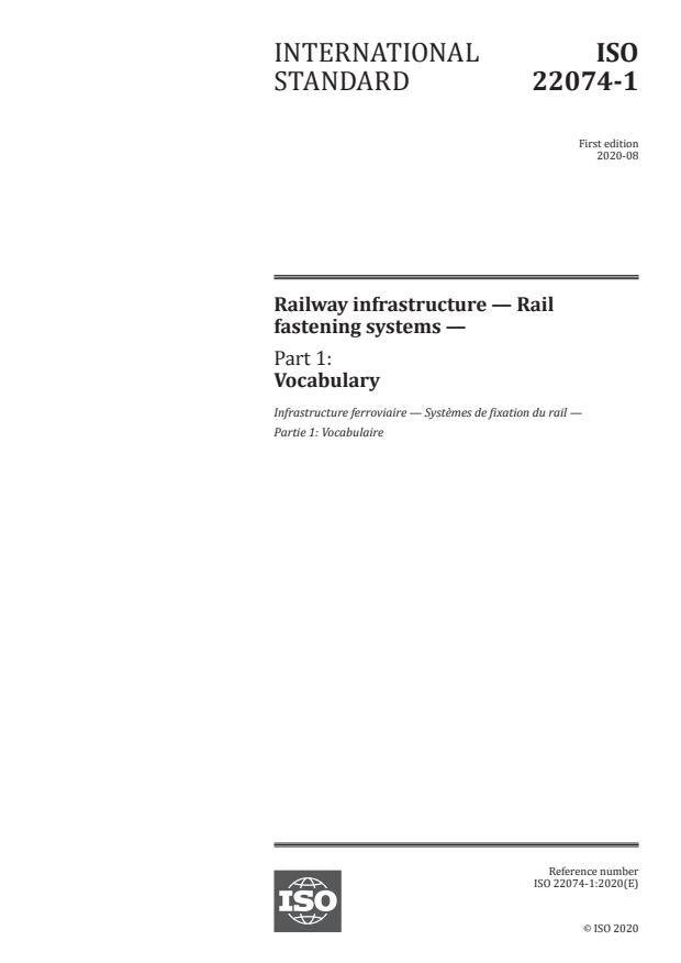 ISO 22074-1:2020 - Railway infrastructure -- Rail fastening systems