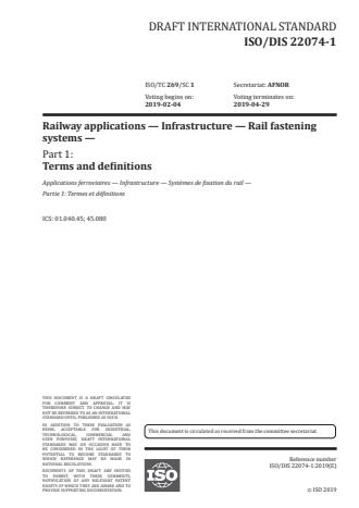 ISO/FDIS 22074-1 - Railway infrastructure -- Rail fastening systems