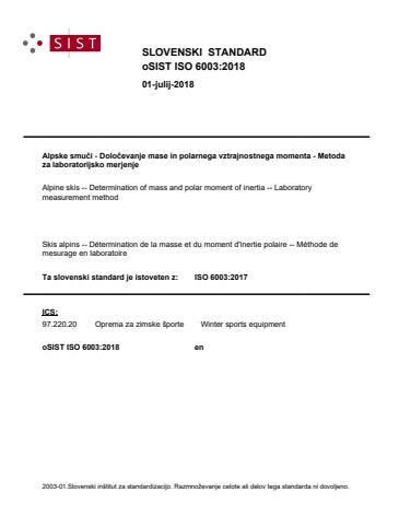 oSIST ISO 6003:2018
