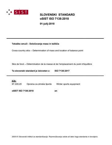 oSIST ISO 7138:2018