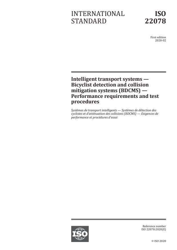 ISO 22078:2020 - Intelligent transport systems -- Bicyclist detection and collision mitigation systems (BDCMS) -- Performance requirements and test procedures