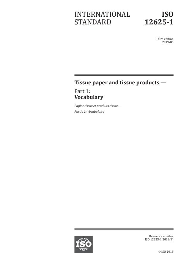 ISO 12625-1:2019 - Tissue paper and tissue products