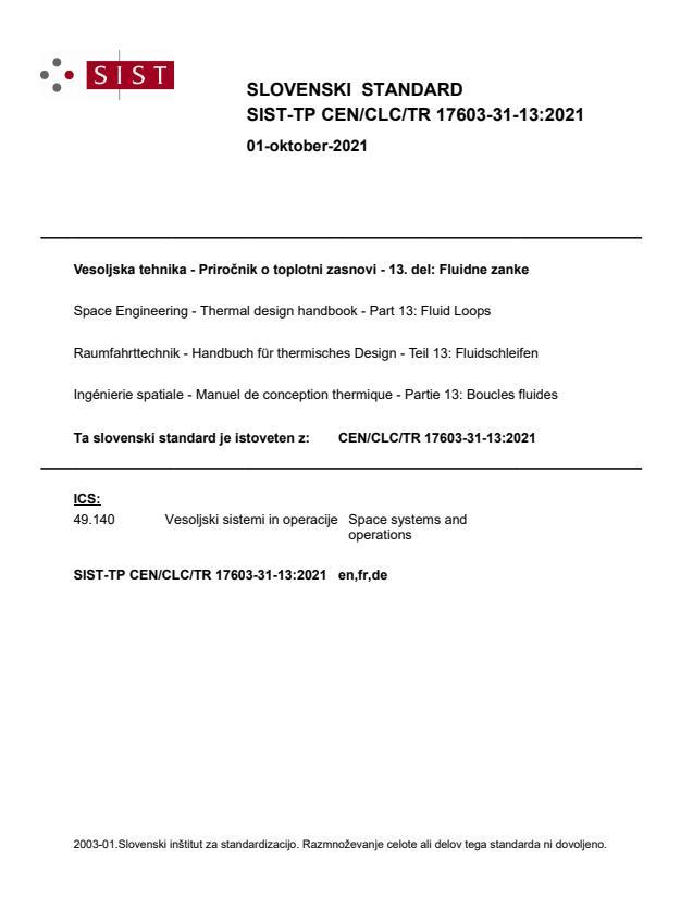 SIST-TP CEN/CLC/TR 17603-31-13:2021 - BARVE