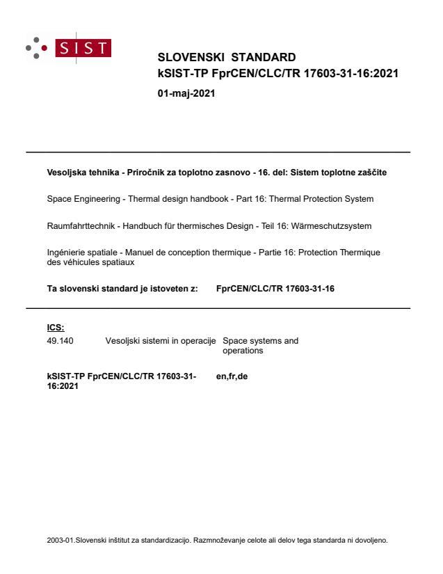 kSIST-TP FprCEN/CLC/TR 17603-31-16:2021 - BARVE