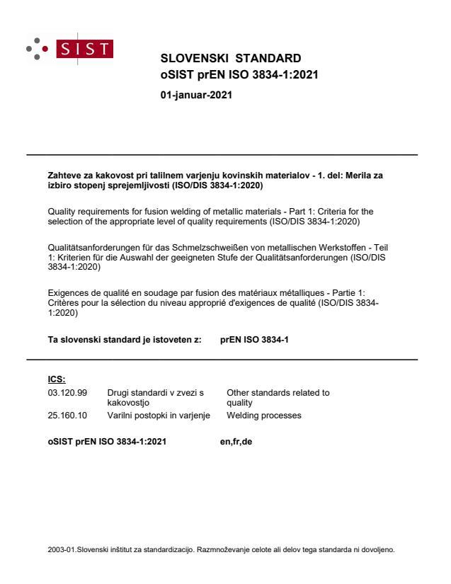 oSIST prEN ISO 3834-1:2021