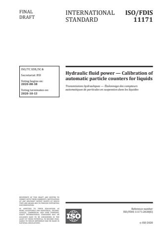 ISO/FDIS 11171:Version 13-okt-2020 - Hydraulic fluid power -- Calibration of automatic particle counters for liquids