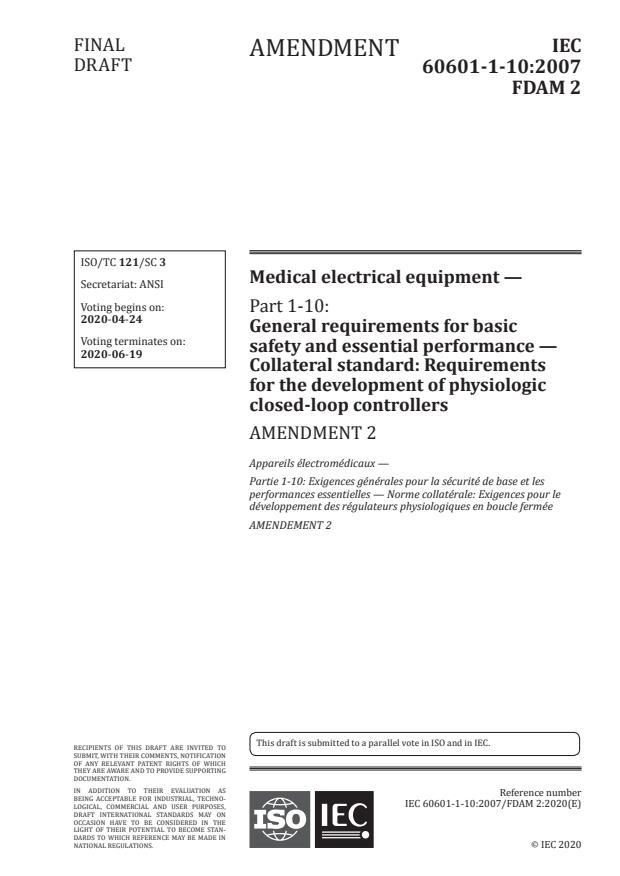 IEC 60601-1-10:2007/Amd 2:2020