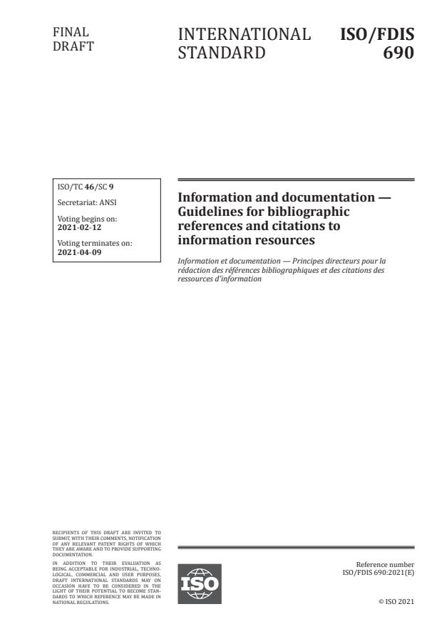 ISO/FDIS 690:Version 05-feb-2021 - Information and documentation -- Guidelines for bibliographic references and citations to information resources