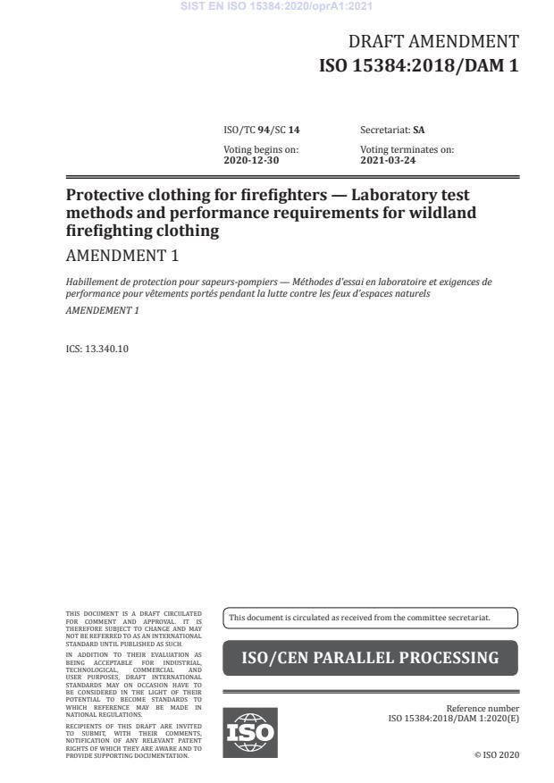 SIST EN ISO 15384:2020/oprA1:2021