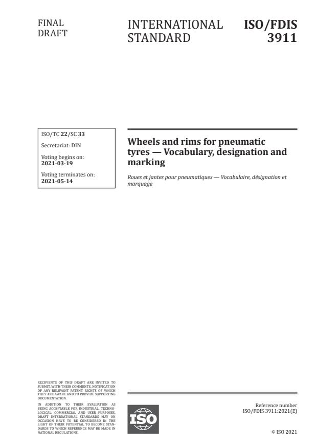 ISO/FDIS 3911:Version 13-mar-2021 - Wheels and rims for pneumatic tyres -- Vocabulary, designation and marking