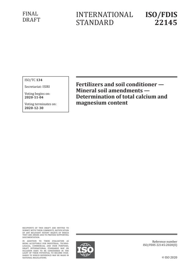 ISO/FDIS 22145:Version 28-okt-2020 - Fertilizers and soil conditioners—Mineral soil amendments -- Determination of total calcium and magnesium content