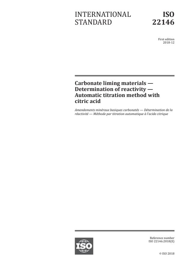 ISO 22146:2018 - Carbonate liming materials -- Determination of reactivity -- Automatic titration method with citric acid