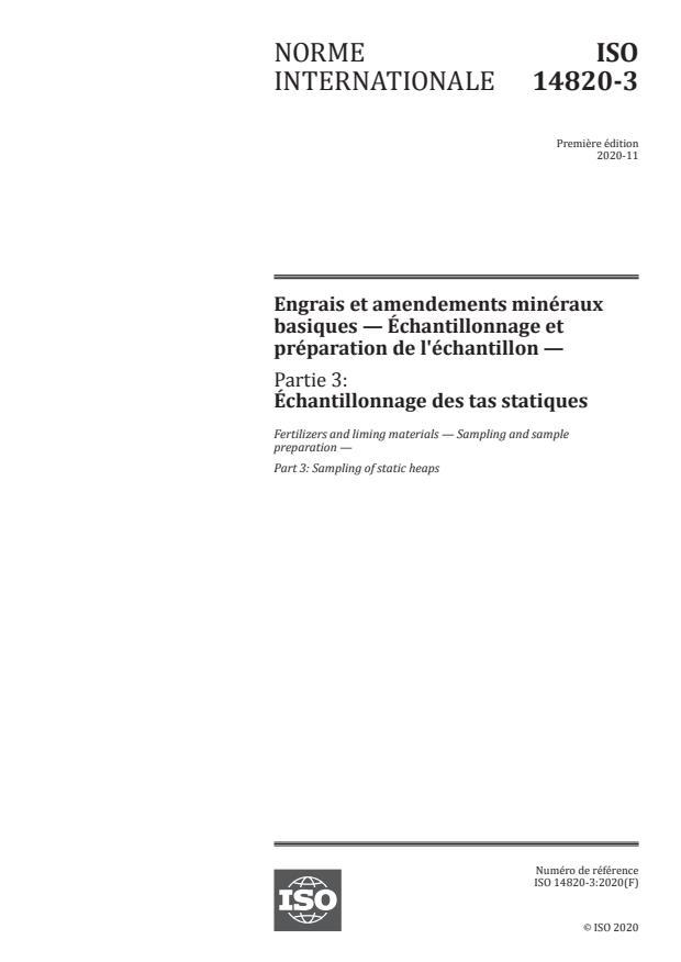 ISO 14820-3:2020 - Engrais et amendements minéraux basiques -- Échantillonnage et préparation de l'échantillon