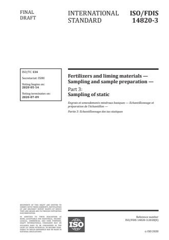 ISO/FDIS 14820-3:Version 08-maj-2020 - Fertilizers and liming materials -- Sampling and sample preparation
