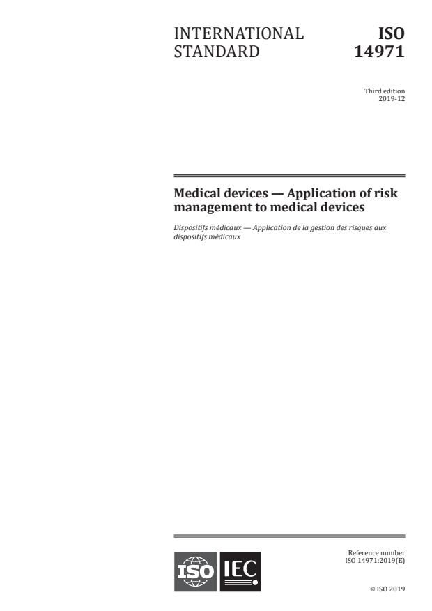 ISO 14971:2019 - Medical devices -- Application of risk management to medical devices