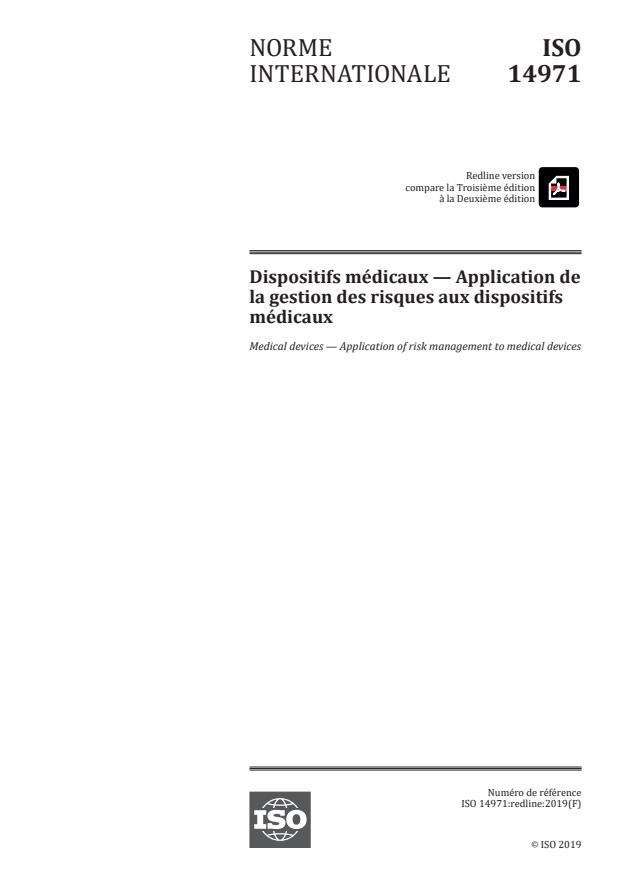 REDLINE ISO 14971:2019 - Dispositifs médicaux -- Application de la gestion des risques aux dispositifs médicaux