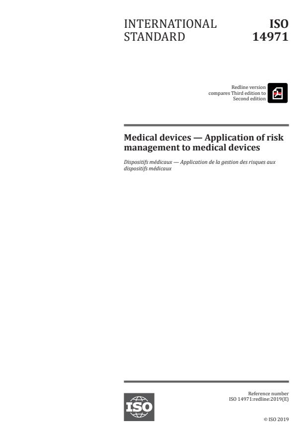 REDLINE ISO 14971:2019 - Medical devices -- Application of risk management to medical devices