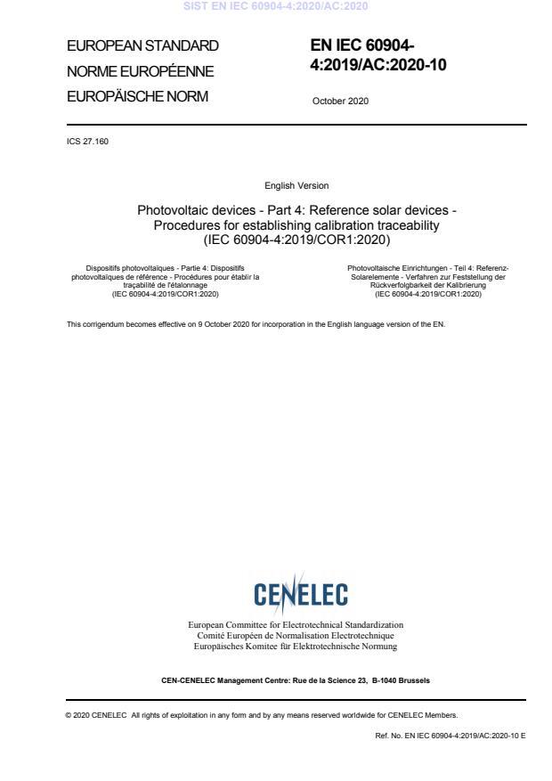 EN IEC 60904-4:2020/AC:2020