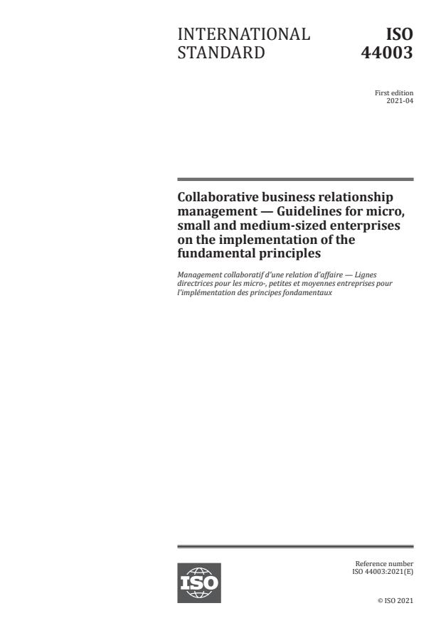 ISO 44003:2021 - Collaborative business relationship management -- Guidelines for micro, small and medium-sized enterprises on the implementation of the fundamental principles