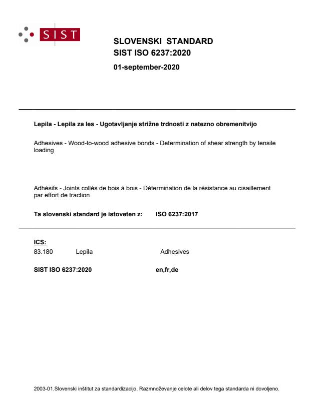 SIST ISO 6237:2020