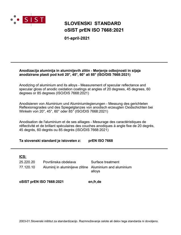 oSIST prEN ISO 7668:2021