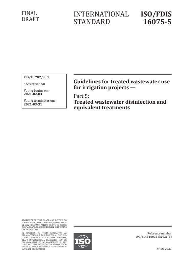 ISO/FDIS 16075-5 - Guidelines for treated wastewater use for irrigation projects