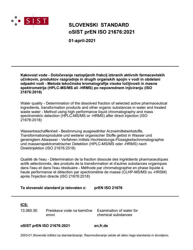 oSIST prEN ISO 21676:2021