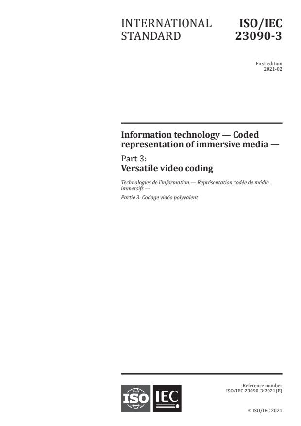 ISO/IEC 23090-3:2021 - Information technology -- Coded representation of immersive media