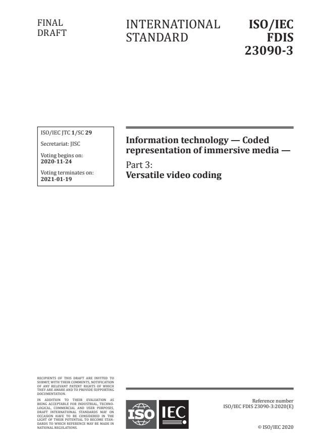 ISO/IEC FDIS 23090-3:Version 21-nov-2020 - Information technology -- Coded representation of immersive media