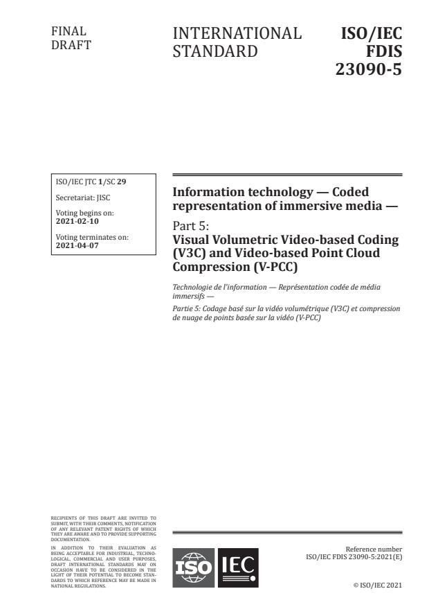 ISO/IEC FDIS 23090-5:Version 05-feb-2021 - Information technology -- Coded representation of immersive media