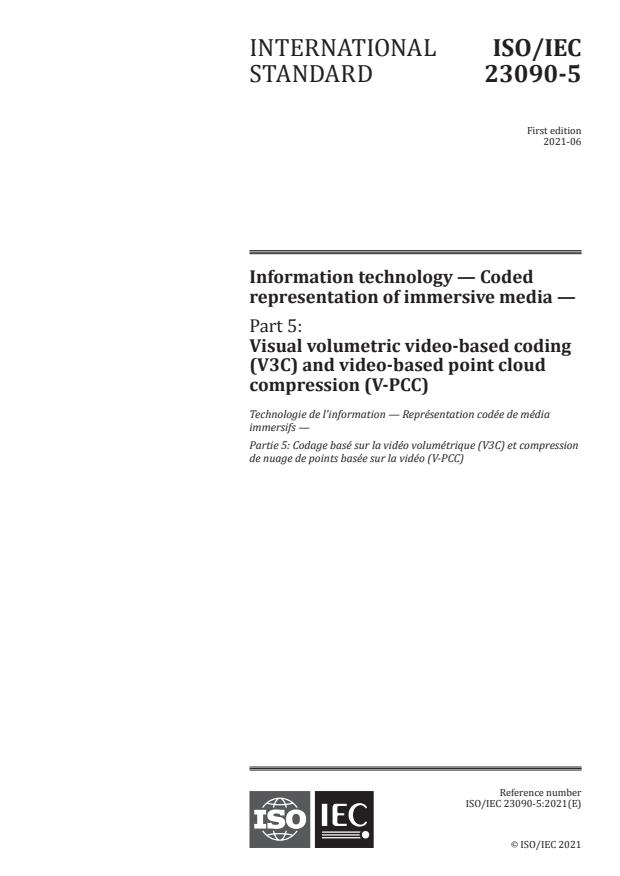 ISO/IEC 23090-5:2021 - Information technology -- Coded representation of immersive media