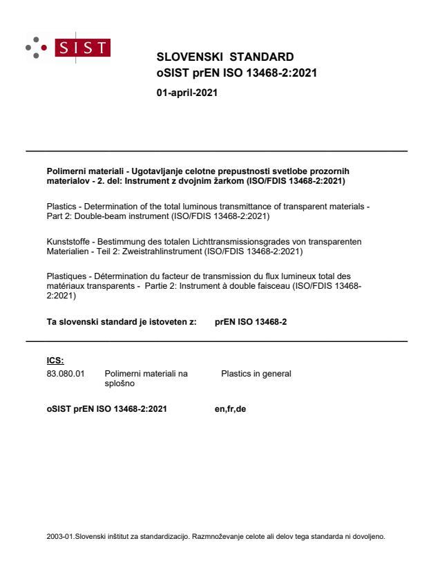 oSIST prEN ISO 13468-2:2021