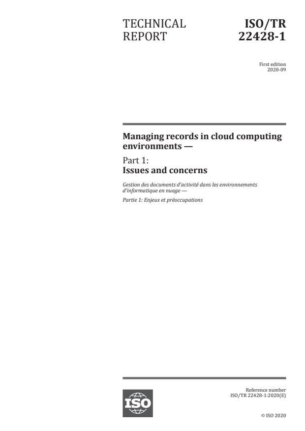 ISO/TR 22428-1:2020 - Managing records in cloud computing environments