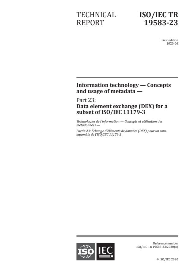 ISO/IEC TR 19583-23:2020 - Information technology -- Concepts and usage of metadata