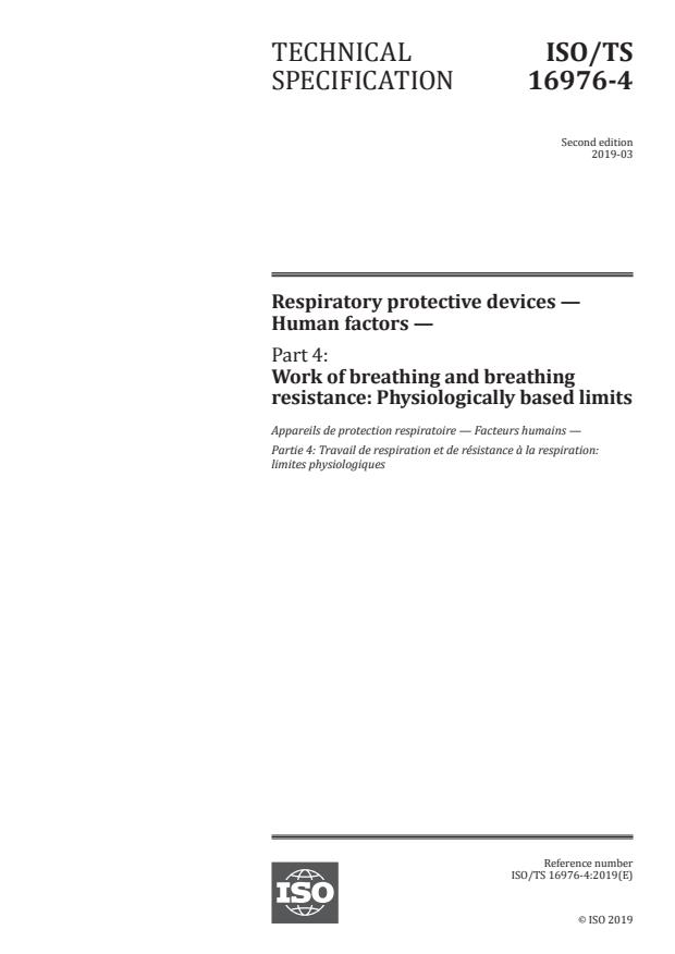 ISO/TS 16976-4:2019 - Respiratory protective devices -- Human factors