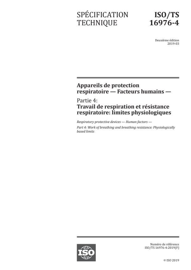 ISO/TS 16976-4:2019 - Appareils de protection respiratoire -- Facteurs humains