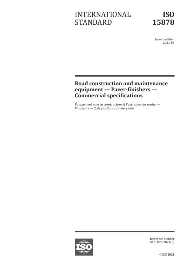 ISO 15878:2021 - Road construction and maintenance equipment -- Paver-finishers -- Commercial specifications