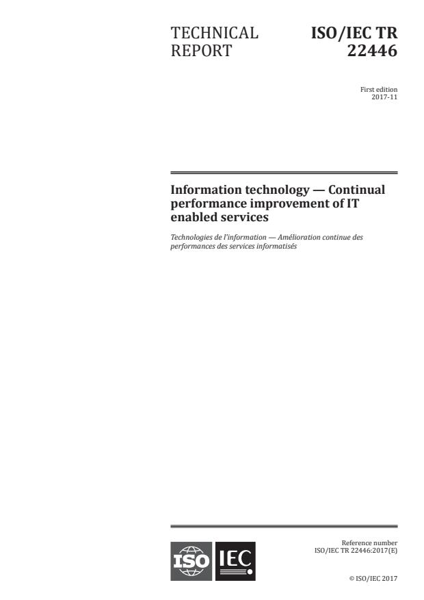 ISO/IEC TR 22446:2017 - Information technology -- Continual performance improvement of IT enabled services